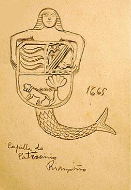Escudo feito a man por Castelao. Fonte: http://www.museo.depo.es/coleccion/catalogo.castelao/ga.03110000.html?TCWJJqNePI