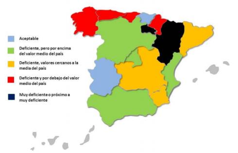 Estado do firme por comunidades. Fonte: Asociación Española de la Carretera. 2014